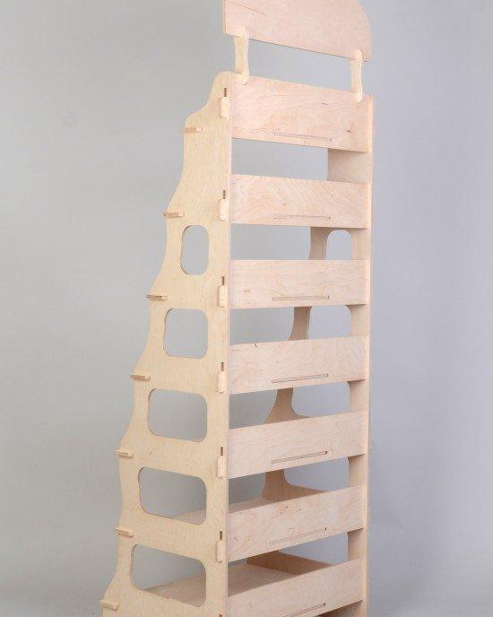 Дървен стелаж за пакетирани храни 3029 - Стоящи стелажи