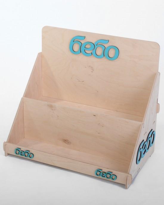 Дървен стелаж за козметика IDEA3059 - Настолни стелажи